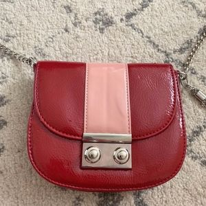 Red Patent Leather Silver Chain Crossbody Purse
